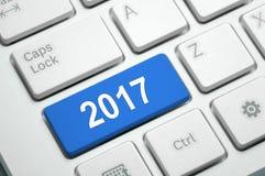 2017 auf weißer Tastatur Lizenzfreies Stockbild