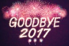 Auf Wiedersehen Feuerwerk mit 2017 Scheinen Lizenzfreie Stockbilder