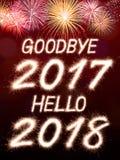 Auf Wiedersehen 2017 hallo 2018 Stockfotografie