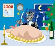 Auf Wiedersehen Jahr des Schweins! Stockfotografie