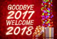 Auf Wiedersehen 2017 Willkommen 2018 Stockfotos