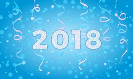 2018 auf Winterhintergrund Feiertagskartenschablone für Grußwi Lizenzfreies Stockbild