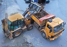 Aufbau-Abzugsgraben, Einbau Stockfotos