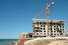 Aufbau auf dem Strand. Stockfotos