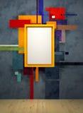 Aufbau der abstrakten Kunst im Museum stock abbildung