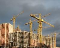 Aufbau der Häuser stockbild