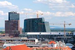 Aufbau der modernen Gebäude in Wien Lizenzfreie Stockfotos