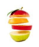 Aufbau der verschiedenen Fruchtscheiben auf Weiß Lizenzfreie Stockbilder
