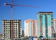 Aufbau der vorfabrizierten Häuser. Lizenzfreie Stockbilder