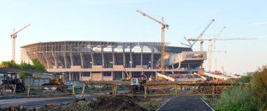 Aufbau eines Fußballstadions in Lviv Ukraine Stockfotografie