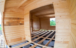 Aufbau eines hölzernen Hauses Innere Ansicht Stockbild