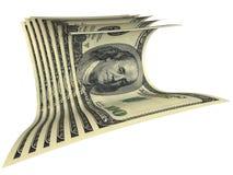 Aufbau einiger Dollarbanknoten Stockbild