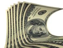 Aufbau einiger Dollarbanknoten Stockfoto