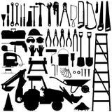 Aufbau-Hilfsmittel-Schattenbild-Vektor Lizenzfreies Stockbild