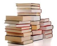 Aufbau mit den Büchern getrennt auf Weiß Stockfotos