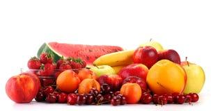 Aufbau mit den Früchten getrennt auf Weiß Stockbilder