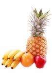 Aufbau mit den Früchten getrennt auf Weiß Lizenzfreies Stockfoto