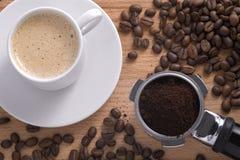 Aufbau mit einem Tasse Kaffee Stockbild