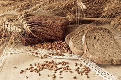Aufbau mit Gruppe Getreide und Brot Lizenzfreie Stockfotos