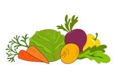 Aufbau mit rohem Gemüse lizenzfreie abbildung