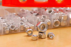 Aufbau-Schrauben-Verbindungselement-Köpfe Stockfotografie