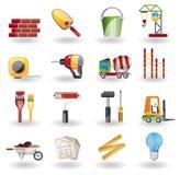 Aufbau-und Gebäude-Ikonen-Set. Lizenzfreies Stockfoto