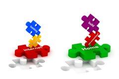Aufbau- und Internet-Puzzlespiele Stockbilder