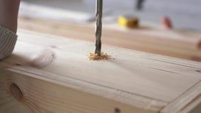 Aufbau und Reparatur Arbeiten mit Holz - Bohrl?cher schlie?en oben stock footage