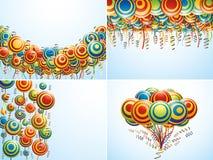 Aufbau vier mit kreativen Luft Ballons Lizenzfreies Stockbild
