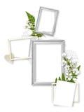 Aufbau von fünf Feldern getrennt auf Weiß Stockbilder
