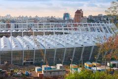 Aufbau von Kyivs Stadion-Fußball UEFA Lizenzfreie Stockfotos