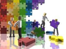 Aufbauen einer Regenbogenmarkierungsfahne Lizenzfreie Stockbilder