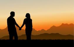 Aufbauende liebevolle Verhältnisse (Sonnenuntergang) stock abbildung