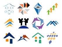 Aufbauende themenorientierte vektorzeichen-Auslegung-Elemente Stockbilder