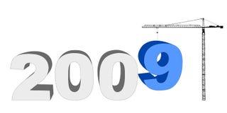 Aufbaukran und Text 2009 Stockbild