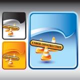 Aufbauzeichen und -kegel auf Rip kräuseln Hintergründe lizenzfreie abbildung