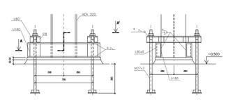 Aufbauzeichnung, Stahlspalteverankerung Lizenzfreies Stockbild