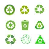 Aufbereitete gesetzte Illustration der Zykluspfeil-Ikone lokalisiert auf weißem Hintergrund Aufbereitete eco Ikone Lizenzfreie Stockfotos
