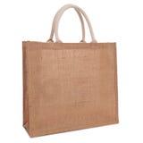 Aufbereitete Sackzeugsack-Einkaufstasche getrennt auf Weiß Stockbild
