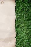 Aufbereitetes Papier auf Gras stockbilder