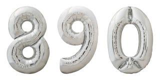 Aufblasbare Ballone Chromes nummeriert 8, 9, 0 auf Weiß Stockfoto