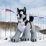 Aufblasbare pneumatische Zahl des heiseren Schlittenhundes - Symbol des Kamchatka-Schlitten-Hunderennens Beringia Lizenzfreie Stockbilder