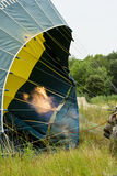 Aufblasen eines Heißluft-Ballons Stockfotografie