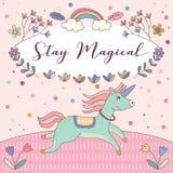 Aufenthalts-magische Einhorn-rosa Gruß-Karten-Vektor Lizenzfreie Stockfotos