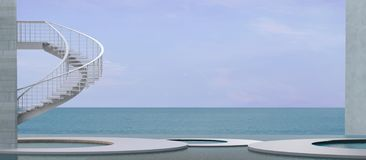 Aufenthaltsraum und Aufnahme Hall By das Meer und die Treppe zur Himmelansicht stockfoto