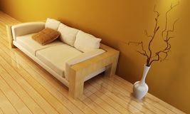 Aufenthaltsraumraum mit Couch Stockbild
