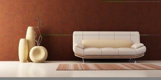 Aufenthaltsraumraum mit Couch und Vasen Stockbild