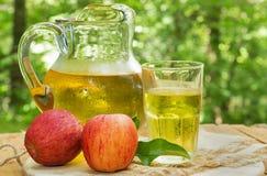 Auffrischungsapple Juice With Red Apples auf einer Tabelle im Freien Lizenzfreie Stockfotos