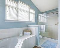Auffrischungsbadezimmerinnenraum im hellblauen Ton Stockbild
