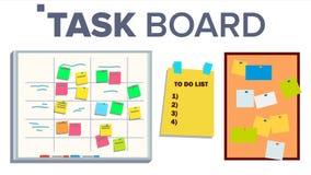 Aufgaben-Brett-gesetzter Vektor Aufkleber-Anmerkungen scrum Aufgaben für Team Work Fortschritts-weißes Brett Getrennte Abbildung stock abbildung